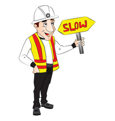 Construction worker holding slow sign vector