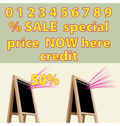 Discount storefront chalkboard labels to right vector