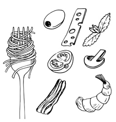 fork with spaghetti vector image