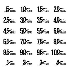 Isolated black color numbers with word years icons vector