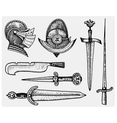 medieval symbols helmet and swords knife vintage vector image