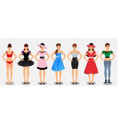 pretty girls in different wardrobe set vector image