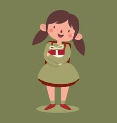 School girl holding a gift vector