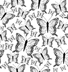 Seamless black and white butterflies background vector image vector image