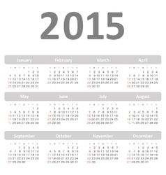Simple calendar for 2015 year vector image vector image