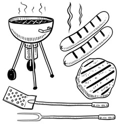doodle grill cook summer vector image