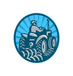 Farmer Plowing With Tractor vector image