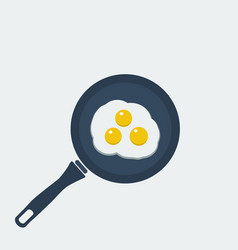 fried eggs breakfast food in style eat vector image