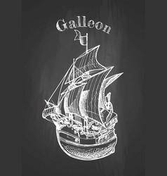 galleon on blackboard vector image