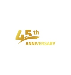 Isolated abstract golden 45th anniversary logo on vector image vector image