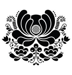 Norwegian folk art black and white pattern vector image