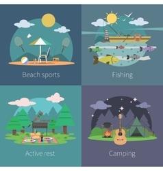 Summer Flat Set vector image