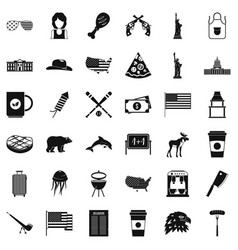 America icons set simple style vector