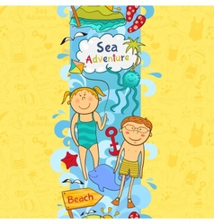 Cute seamless border with beach elements vector image