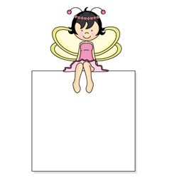 Fairy sitting on a frame vector image vector image