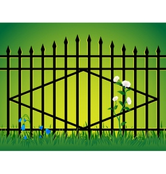 Gate and flowers vector image vector image