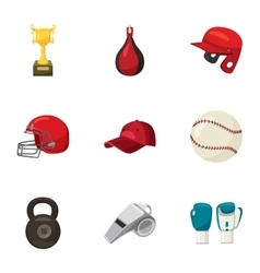 Sports training icons set cartoon style vector image