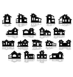 Black silhouettes of houses and cottages vector image vector image