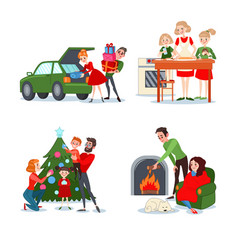 christmas family scenes couple with gift boxes vector image vector image