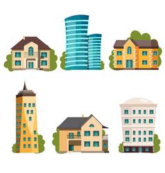 flat design modern city houses vector image