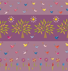 flowers trees suns and birds vector image vector image