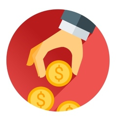 hand holding money coin red shadow and flat theme vector image