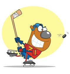 Sporty Bear Playing Ice Hockey vector image vector image