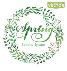 Watercolor Spring BackgroundWordwreatbrunshes vector image vector image