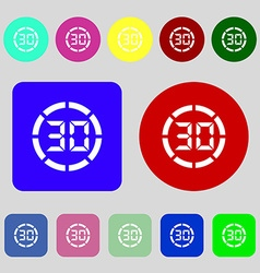 30 second stopwatch icon sign 12 colored buttons vector image