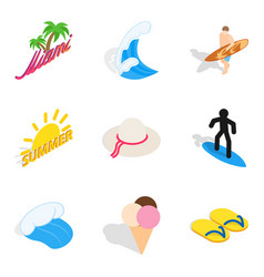 Beach town icons set isometric style vector
