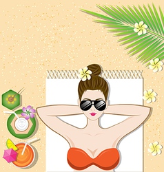 Beautiful girl lying on the beach vector image