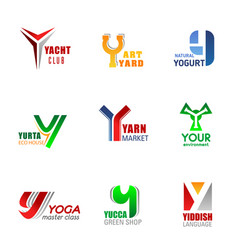 Business identity letter y icons signs vector