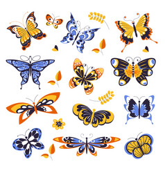 Butterflies isolated icons animals or insects vector