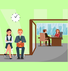 Candidates waiting for job interview vector