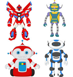 cartoon cute robot collection set vector image