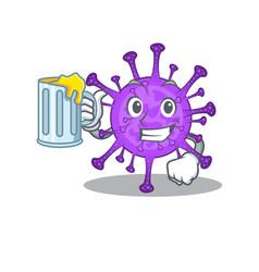 Cheerful bovine coronavirus mascot with glass beer vector