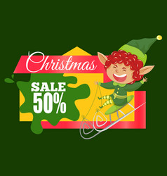Christmas sale 50 percent off reduction banner vector