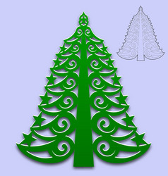 christmas tree cut from paper pattern for design vector image