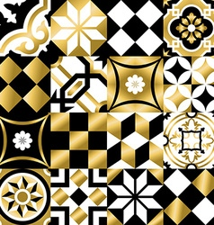 Classic mosaic tile seamless pattern in gold color vector