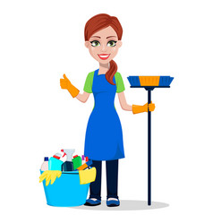 Cleaning company staff in uniform vector