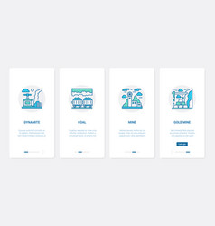 coal gold mining industry ux ui onboarding mobile vector image