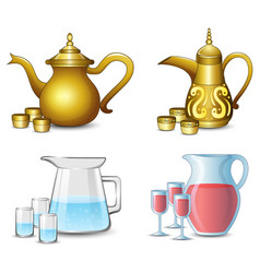 collection of the teapot with cups on white backgr vector image