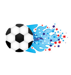 colorful olympic flame with stars and soccer ball vector image