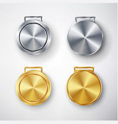 Competition games golden and silver medal set vector