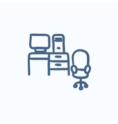 Computer set with table and chair sketch icon vector image