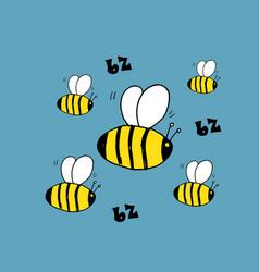 cute bee cartoon animal baby and children print vector image