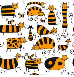Cute striped cats family seamless pattern for vector