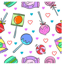 doodle of candy pattern style vector image