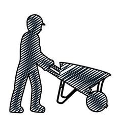 Doodle pictograph laborer with wheelbarrow vector