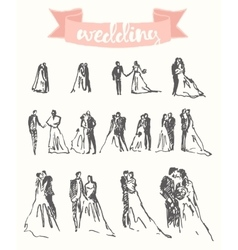 Drawn happy bride groom sketch vector